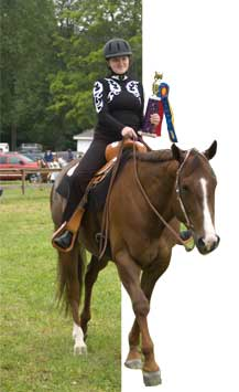 rider with trophy on horseback